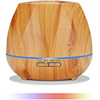 Essential Oil Diffuser, 550ML Ultrasonic Humidifier 5 in 1, Aroma Diffuser Quiet Fragrant Diffuser with 7 Colors Mood Lamp, Wood Grain Cooling for Home, Gift for Family/Friend