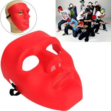 Face Masquerade Mask - Face Mask Masquerade Men - Scary Face Masquerade B-Boy Mime Mask Party Costume Theater - Red (Masquerade Mask Full Face)
