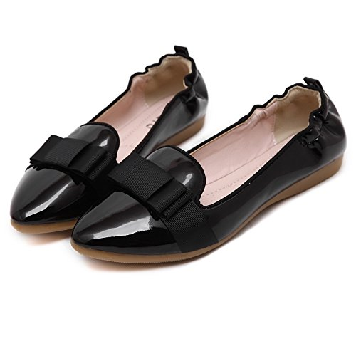 VogueZone009 Womens Soft Material Pointed Closed Toe Pull-On Flats-Shoes with Bowknot, Black, 36