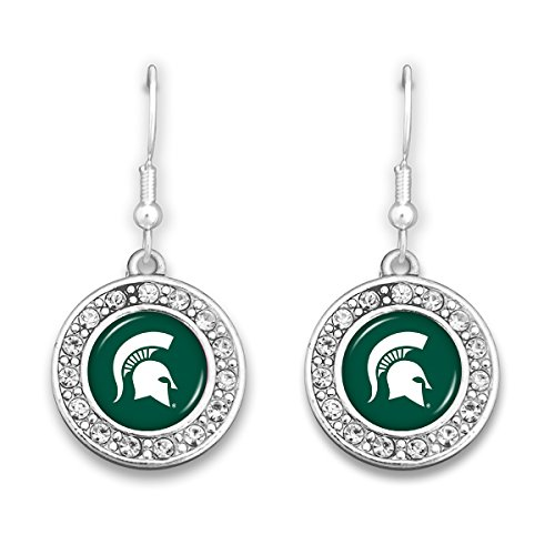 Michigan State Spartans Earrings - FTH Michigan State Spartans Circle Logo Earrings with Rhinestones