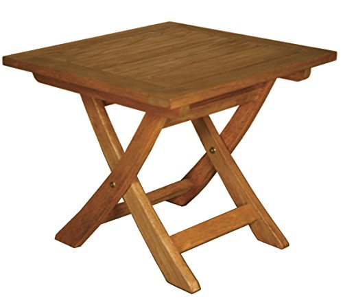 Blue Star Group Terrace Mates Aspen Folding Square End Table, Natural Wood Stain ()