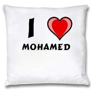 Ropa de almohada blanca con Amo Mohamed