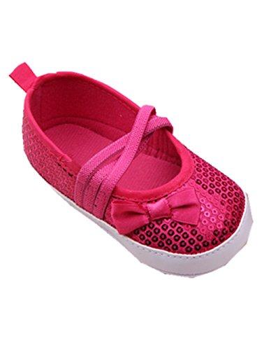 YICHUN bebé niñas vestido zapatos Prewalker zapatos zapatos de cuna suave zapatos princesa lazo de lentejuelas plateado plata Talla:Sole Length:11cm/4.3 inches rosso