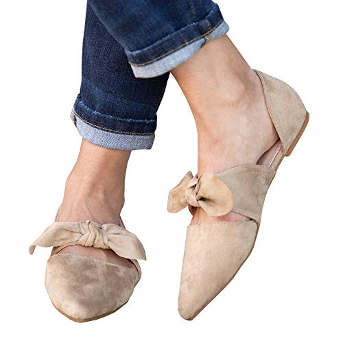 FISACE Womens Retro Mules Knot Bow Flat Sandals Pointed Toe Slip On Low Heel Dress Shoes Taupe (Bow Mule)