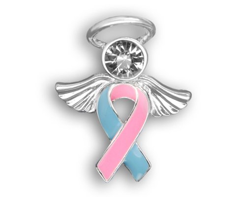 Fundraising For A Cause Pink and Blue Ribbon Pin in a Gift Box - Angel Tac (Retail)]()