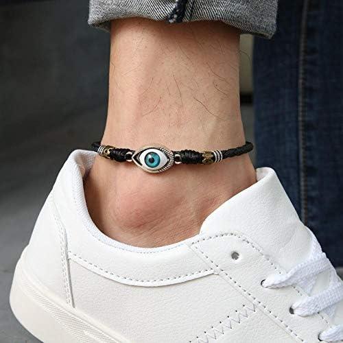 SHUX Fußkettchen Auge Fußseil Herren Rotseil Fußkettchen Herren Modelle Großhandel Großhandel Verstellbar, Blaue Augen alle Schwarze Fußkette Mann