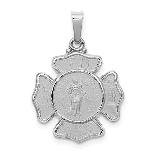 - 14k White Gold Hollow Saint Florian Protect Us Words On Firefighter Badge Shaped Pendant 18x16mm
