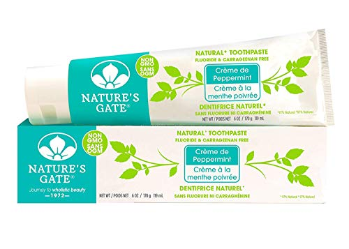 Nature's Gate Natural Toothpaste, Creme de Peppermint, Fluoride Free, Vitamin C; Vegan, Non GMO, Carageenan Free, Gluten Free, Soy Free, Paraben Free, Cruelty Free, 6 Ounce Recyclable Tube (Pack of 6) (Gate Natures Toothpaste Kids)