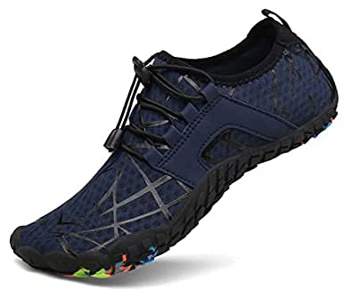 kealux Mens Womens Aqua Water Shoes Quick Dry Barefoot Shoes for Beach Swim Diving Surf Yoga Walking Running Outdoor Exercise Blue Size: 6.5 Women/5 Men