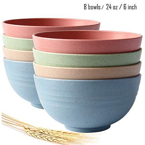 (Greenandlife Cereal/Rice/Snack Bowls,6 inch,24 oz,Set of 8,Wheat Straw Fiber,Eco-Friendly,Lightweight)