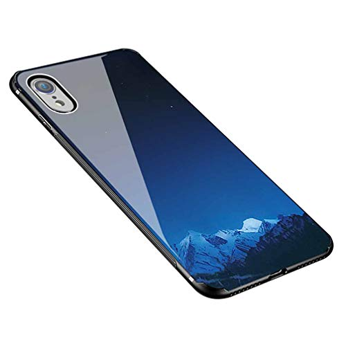 Azure Apparel - Anyos iPhone XR Case, Slim Fit Printed Tempered Glass Back TPU Bumper Cover Compatible with iPhone Xr 2018 6.1 Inch,Azure