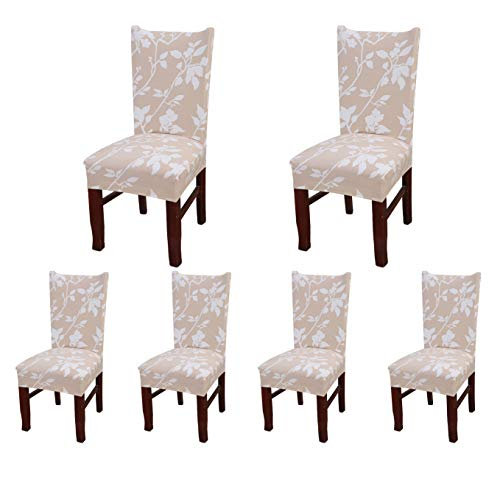 SoulFeel Set of 6 Dining Chair Covers, Stretch Spandex Dining Room Protector Slipcovers (Champagne Shadow)