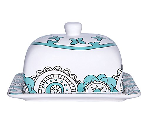 Butter Dish Keeper Large with Lid Cover, 7 Inch Porcelain, Holds Up to 2 Sticks of Butter, Mint Blue (18th Century Farmhouse)