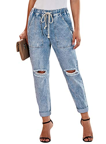 (Dokotoo Womens Summer Classic Pull On Fashion Ladies Distressed Joggers Hole Elastic Drawstring Mid Waist Pocketed Wash Denim Long Jeans Pants Small)