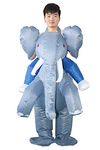 Qshine Inflatable Elephant Cosplay Costume Halloween Funny Fancy Dress Blow up -
