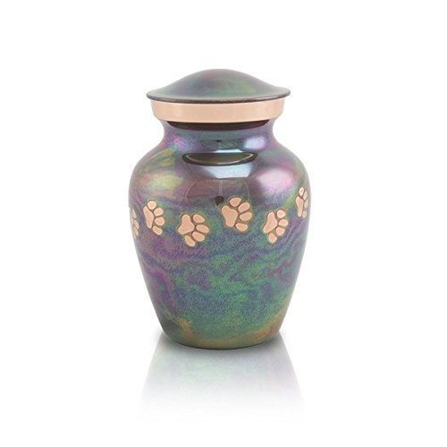 Paw Print Bronze Memorial Funeral Urn for Cats and Dogs - Extra Small - Holds Up to 25 Cubic Inches of Ashes - Raku Blue Pet Cremation Urn for Ashes - Engraving Sold Separately