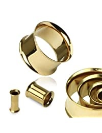 Pair of Gold IP Over 316L Surgical Steel Double Flare Ear Plugs Tunnels Earlets E224 12 Gauge to 2 Inch