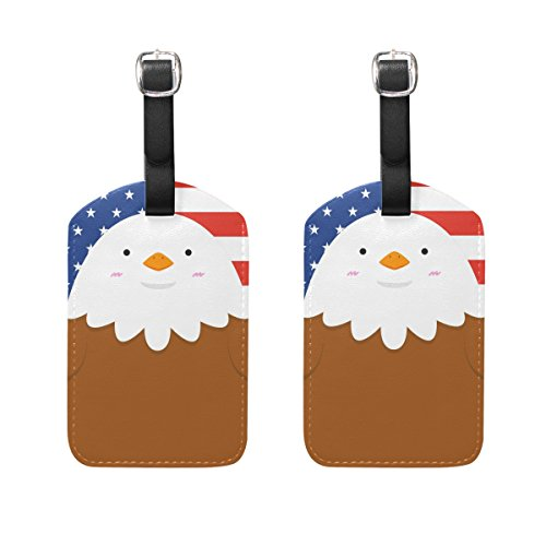 Travel Luggage Tag Cute Big Fat Eagle Stars and Stripes PU Leather Baggage Suitcase Tag Name Address ID Label 2 Pieces (Big Stripes Address Label)