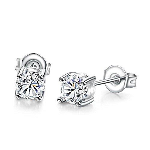4 Prong Round Gem (BODYA White Gold Plated 4-prong Cubic Zirconia Gems Cushion Halo Stud Earrings Women girls gift 4.5MM)