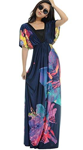 Vogstyle Mujer Impresa floral de Boho falda larga vestidos para la playa para el verano Estilo-2 Azul Marino