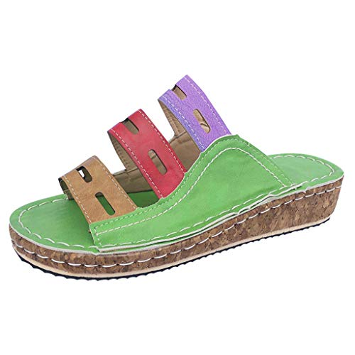 (Women Sandals, LONGDAY  Casual Flats Summer Slippers Soft Sole Leather Wedge Shoes Comfy Slip On Hollow Flip Flops Green)