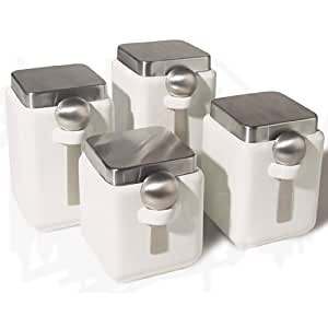 Oggi Ceramic Square Canister Set with Stainless Steel Spoon and Lid, White, 4-Piece