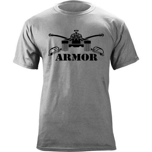 Army Armor Branch Insignia Military Veteran T-Shirt (Large, Heather Grey)