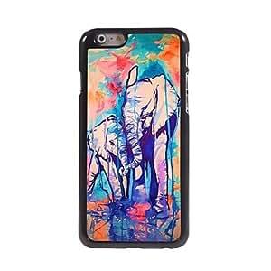 QJM Water Colorful Elephant Design Aluminum Hard Case for iPhone 6 Plus