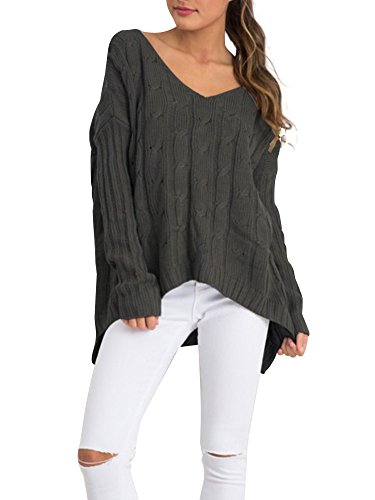 Simplee Apparel Women's Loose Long Sleeve Cross Back Cable Ribbed Knit Sweater,Green,One Size