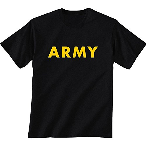 (Black ARMY Short Sleeve T-Shirt with Gold Print, XXX-Large)