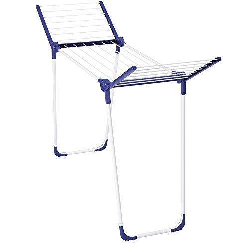 Leifheit 81721 Pegasus 120 Compact Solid Indoor Folding Drying Rack for Clothes and Laundry, Blue and White