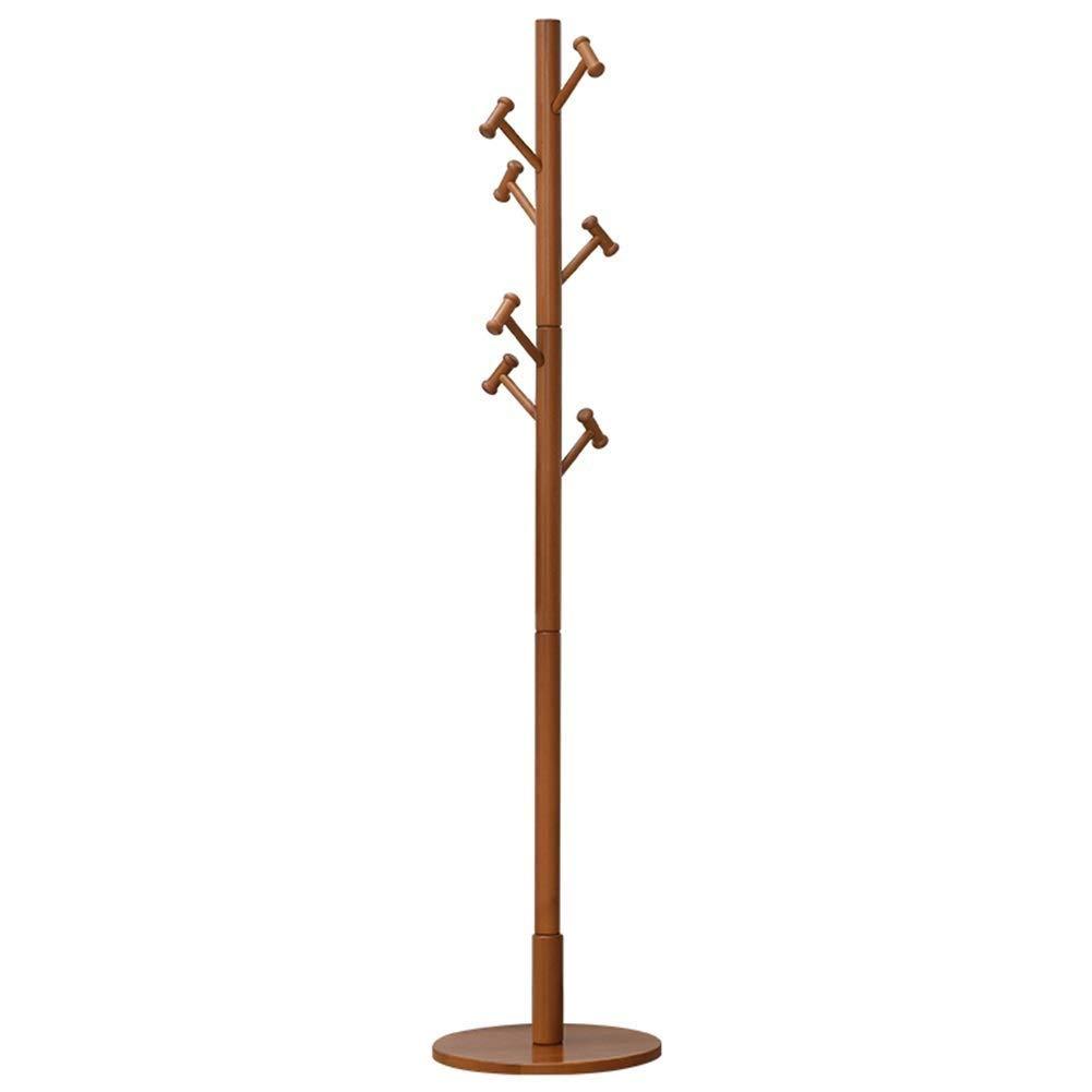 Wood color NEVY Coat Rack Solid Wood with 7 Hooks, Jacket Tree Floor Hanger, Suitable for Bedroom Room Bedroom Decor (color   Wood color)