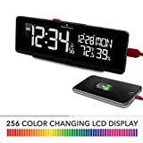 Marathon CL030063BK LED Alarm Clock with Two Fast Charging USB Ports. Great for Bedrooms. Hotel Commercial Grade (Black)