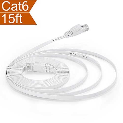 CelerCable – Flat Ethernet Cable Cat6 15ft with Snagless RJ45 Connectors, Slim Network Cable Flat Cat 6 Ethernet Patch Cable, Internet Patch Cable Computer Networking Cord, 15 Feet (White)