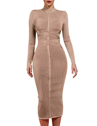 whoinshop Women's Cross Strap Ribbed Bandage Long Sleeve Midi Fall Winter Bodycon Party Dress (XL, Khaki1)