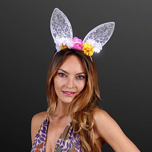 Floral & White Lace Bunny Rabbit Ears Headband with LED Lights ()