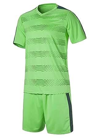 XFentech Camisetas de fútbol, Camiseta de Manga Corta Transpirable + Pantalones Cortos de fútbol, Uniforme de fútbol para Hombres y niños (Verde,EU S = Tag M)