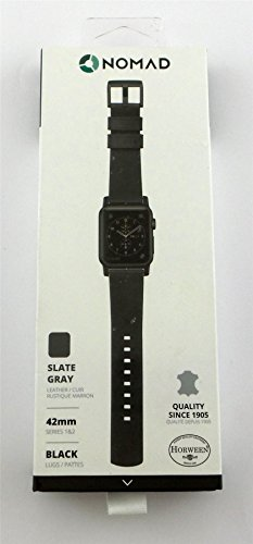 Nomad Slate Gray Leather Strap for Apple Watch 42mm STRAP-42MM-NS-HOR-GRAY-BL