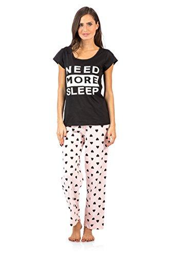 Casual Nights Women's Need More Sleep Pajama Set - Black/Peach - 3X