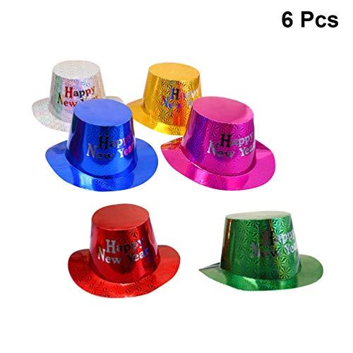 Amosfun 6 piezas feliz año nuevo sombreros de fiesta brillo tophat ...