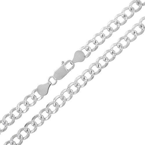 (Sterling Silver Italian 6mm Cuban Curb Link Diamond-Cut Pave ITProLux Solid 925 Necklace Chain 20