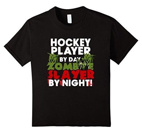Hockey Player Halloween Costumes Kids (Kids Funny Halloween Tee Shirts Hockey Player Zombie Slayer Shirt 8 Black)