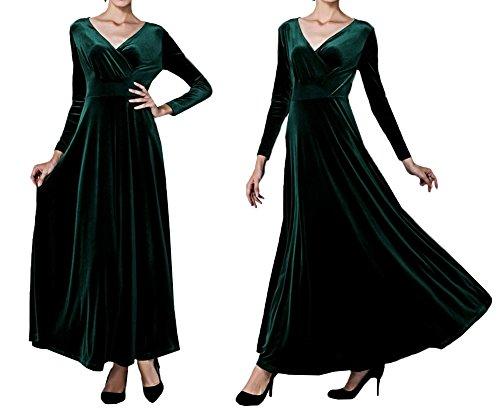 cuello de Vestido longitud Scothen Vestido vestido piso redondo de de Invierno 3 elegante del contraste Costuró 4 noche cóctel de Vestidos manga noche cóctel vestido Vestido de de Green de Oqgn5qHrAw
