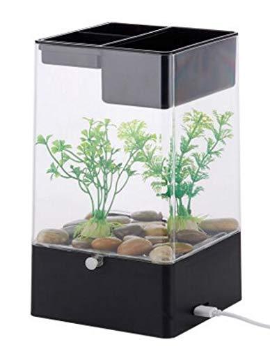 USB Interface Plastic Aquarium Mini Fish Tank Plants Easy to Change Water Fish Bowl Rack Fishbowls Water Desktop Decoration black, S