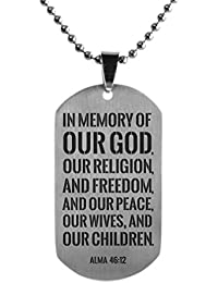 """LDS Title of Liberty Dog Tag - Stainless Steel Moroni Book of Mormon Necklace - 24"""" Ball Chain"""