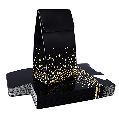 Small Black and Gold Gift Bags - 30 Fancy Small Black Gift Bags Embossed With Elegant Gold Foil Dots - Black Goodie Bags - Small Gift Bags - Favor Bags - Treat Bags - Small Present Bag - Bulk Gift Bags - Custom Gift Bags, Include 30 Adhesive For Easy Closure - 6.25 H X 2.6 W X 3.7 L - Black (Pack of 30)