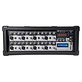 Rockville RPM85 2400w Powered 8 Channel Mixer,USB, 5 Band EQ, Effects/Bluetooth