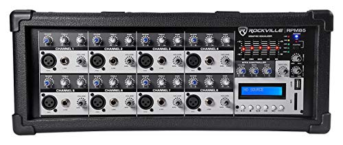 Rockville RPM85 2400w Powered 8 Channel Mixer, USB, 5 Band EQ, Effects/Bluetooth