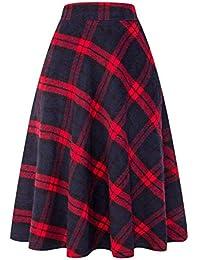 Womens High Elastic Waist Maxi Skirt A-line Plaid Winter...