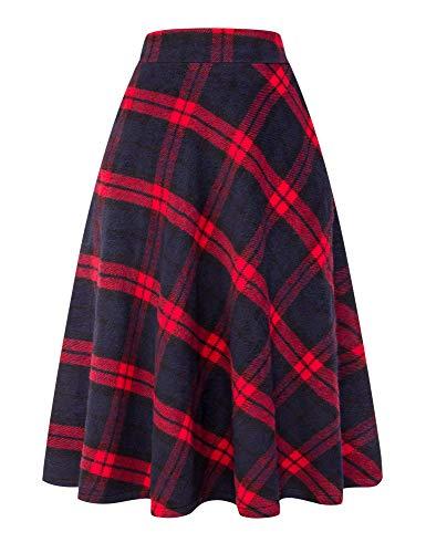 IDEALSANXUN Womens High Elastic Waist Maxi Skirt A-line Plaid Winter Warm Flare Long Skirt (Medium, Long Red)